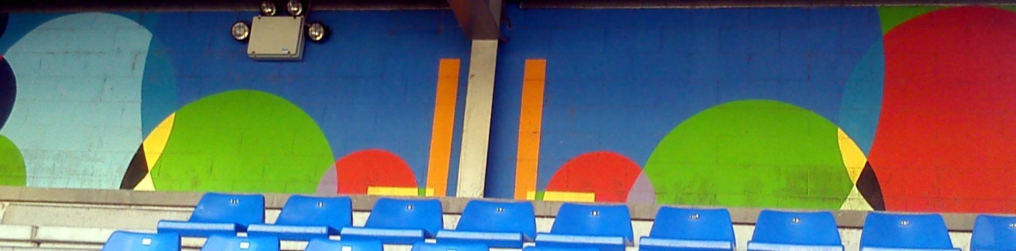 Pintura mural estadio municipal Ganzábal obra de José Sánchez Prieto La Felguera Langreo