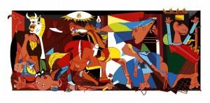 Guernika aprender pintando exposición en las Escuelas Dorado de Sama de Langreo