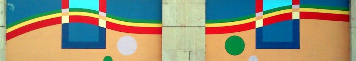 Pintura mural archivo municipal en Sama de Langreo obra de José Sánchez Prieto
