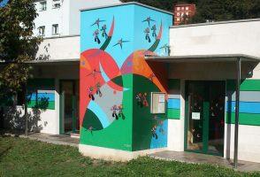 Pinturas fachada escuela La Felguera Langreo Sánchez Prieto