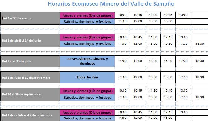 Horarios del ecomuseo minero para 2015