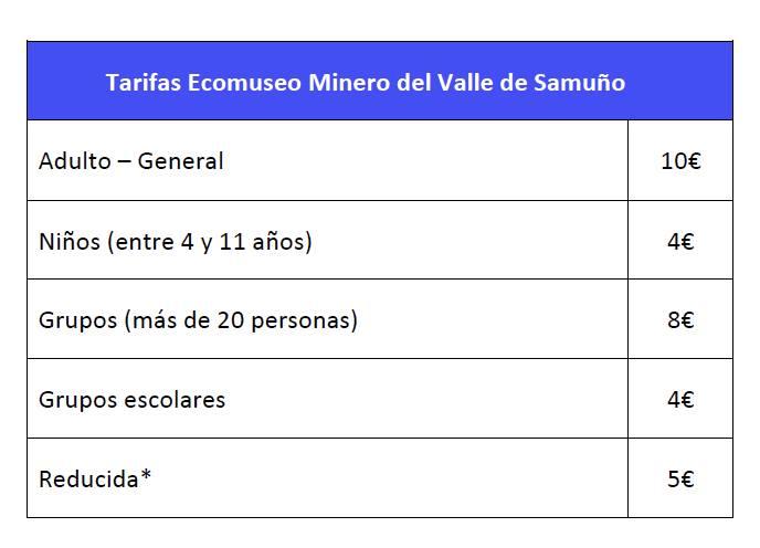 Tarifas ecomuseo minero valle del Samuño 2015