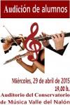 Audición de alumnos de clarinete, flauta travesera y violín