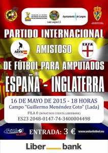 Partido internacional de fútbol para amputados: España - Inglaterra @ Campo municipal de Lada | Lada | Principado de Asturias | España