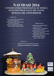 Conciertos del Conservatorio - Navidad 2016 @ Varias ubicaciones