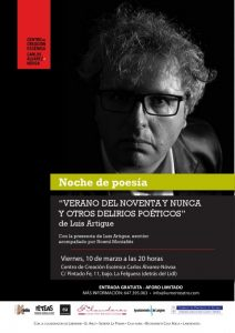Noches de poesía: Luis Artigue @ Centro de Creación Escénica Carlos Álvarez-Nòvoa   Langreo   Principado de Asturias   España