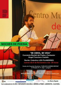 Noches de poesía: Ángel Francisco Casado @ Centro de Creación Escénica Carlos Álvarez-Nòvoa | Langreo | Principado de Asturias | España