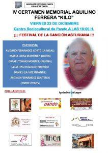 "IV Certamen-Memorial Aquilino Ferrera ""Kilo"" @ Centro Sociocultural de Pando | Pando | Principado de Asturias | España"