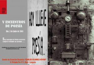 "V Encuentros de poesía: ""Hoy llueve poesía"" @ Centro de Creación Escénica Carlos Álvarez-Nòvoa | Langreo | Principado de Asturias | España"