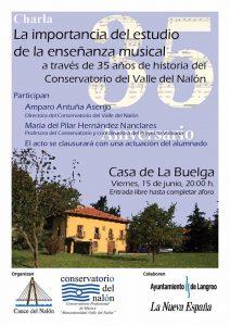 Charla: La importancia del estudio de la enseñanza musical a través de 35 años de historia del Conservatorio del Valle del Nalón @ Casa de la Buelga | Langreo | Principado de Asturias | España