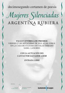 """Entrega de premios XII Certamen de poesía """"mujeres silenciadas"""" - Argentina Rubiera @ Escuelas Dorado"""