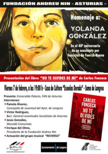 Acto Homenaje a Yolanda González @ Escuelas Dorado